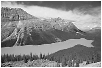 Peyto Lake and Cauldron Peak, mid-day. Banff National Park, Canadian Rockies, Alberta, Canada (black and white)