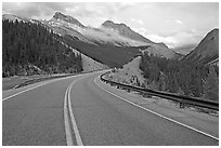 Twisting road, Icefields Parkway, sunset. Banff National Park, Canadian Rockies, Alberta, Canada ( black and white)