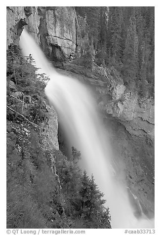 Panther Falls seen from the hanging ledge. Banff National Park, Canadian Rockies, Alberta, Canada (black and white)