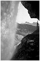 Panther Falls and ledge from behind. Banff National Park, Canadian Rockies, Alberta, Canada (black and white)