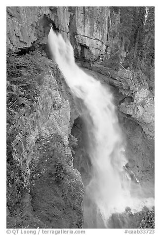 Panther Falls. Banff National Park, Canadian Rockies, Alberta, Canada (black and white)