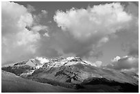 Peak and cloud near the Columbia Icefield,  early morning. Jasper National Park, Canadian Rockies, Alberta, Canada ( black and white)