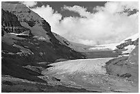 Athabasca Glacier, early morning. Jasper National Park, Canadian Rockies, Alberta, Canada ( black and white)