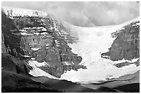 Snow Dome Glacier, Snow Dome, and Mt Kitchener. Jasper National Park, Canadian Rockies, Alberta, Canada ( black and white)