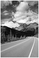 Curved Highway, Icefields Parway. Jasper National Park, Canadian Rockies, Alberta, Canada (black and white)