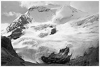 Hanging glacier on Mount Athabasca. Jasper National Park, Canadian Rockies, Alberta, Canada ( black and white)