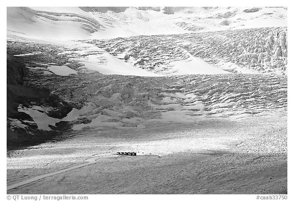Distant view of snowcoaches parked at the base of the lower icefall on the Athabasca Glacier. Jasper National Park, Canadian Rockies, Alberta, Canada (black and white)
