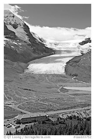 Icefields Center and Athabasca Glacier. Jasper National Park, Canadian Rockies, Alberta, Canada (black and white)