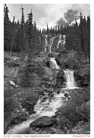 Multi-tiered Tangle Falls. Jasper National Park, Canadian Rockies, Alberta, Canada (black and white)