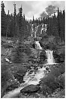 Multi-tiered Tangle Falls. Jasper National Park, Canadian Rockies, Alberta, Canada ( black and white)
