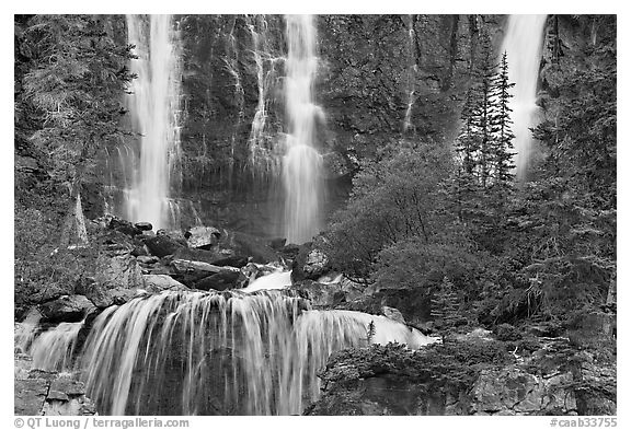 Upper tier of Tangle Falls. Jasper National Park, Canadian Rockies, Alberta, Canada (black and white)