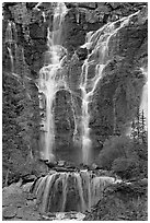 Tangle Falls. Jasper National Park, Canadian Rockies, Alberta, Canada ( black and white)