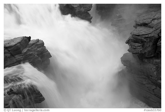 Rushing water, Athabasca Falls. Jasper National Park, Canadian Rockies, Alberta, Canada (black and white)
