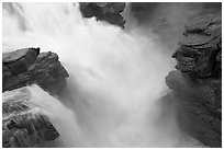 Rushing water, Athabasca Falls. Jasper National Park, Canadian Rockies, Alberta, Canada ( black and white)