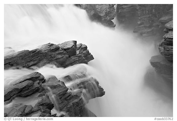 Water flowing over Gog quartzite in Athabasca Falls. Jasper National Park, Canadian Rockies, Alberta, Canada (black and white)