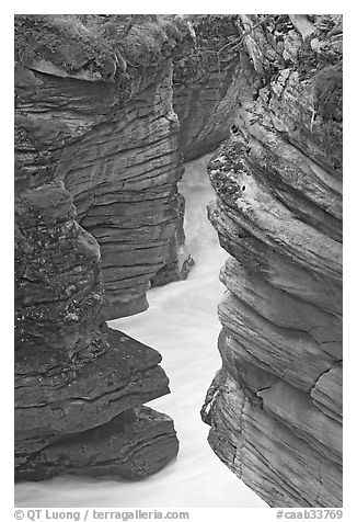 Narrow canyon at the base of Athabasca Falls. Jasper National Park, Canadian Rockies, Alberta, Canada