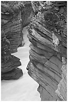 Gorge at the base of Athabasca Falls. Jasper National Park, Canadian Rockies, Alberta, Canada (black and white)