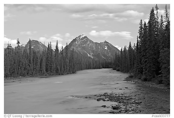 Whirlpool River and Whirlpool Peak, sunset. Jasper National Park, Canadian Rockies, Alberta, Canada (black and white)