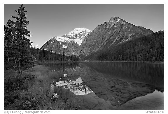 Cavell Lake and Mt Edith Cavell, sunrise. Jasper National Park, Canadian Rockies, Alberta, Canada (black and white)