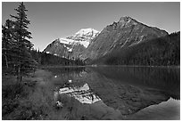 Cavell Lake and Mt Edith Cavell, sunrise. Jasper National Park, Canadian Rockies, Alberta, Canada ( black and white)