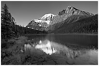 Cavell Lake and Mt Edith Cavell, early morning. Jasper National Park, Canadian Rockies, Alberta, Canada (black and white)