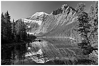 Mt Edith Cavell and  Cavell Lake from the footbrige, early morning. Jasper National Park, Canadian Rockies, Alberta, Canada (black and white)