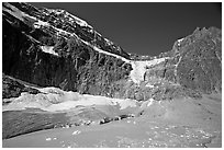 Mt Edith Cavell, Angel Glacier, and turquoise glacial lake. Jasper National Park, Canadian Rockies, Alberta, Canada ( black and white)
