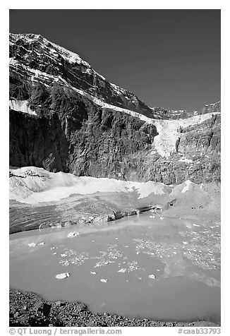 Turquoise glacial lake below Mt Edith Cavell, morning. Jasper National Park, Canadian Rockies, Alberta, Canada (black and white)