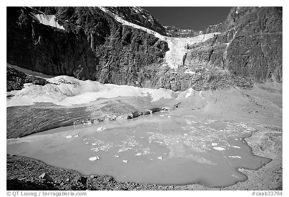 Hanging glacier and glacial pond, Mt Edith Cavell. Jasper National Park, Canadian Rockies, Alberta, Canada (black and white)