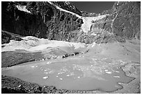 Hanging glacier and glacial pond, Mt Edith Cavell. Jasper National Park, Canadian Rockies, Alberta, Canada ( black and white)
