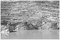 Cavell Glacier calving into a glacial lake. Jasper National Park, Canadian Rockies, Alberta, Canada (black and white)