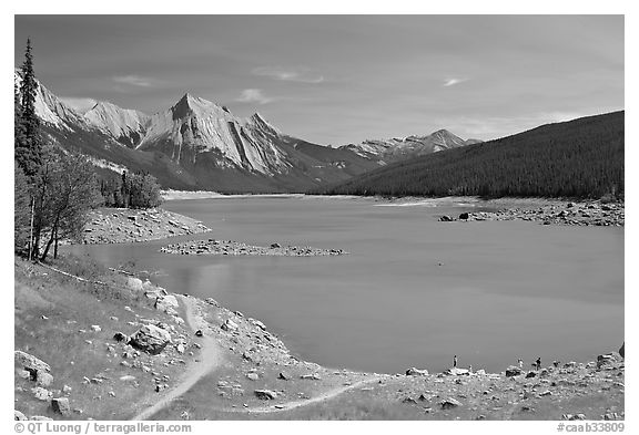 Medicine Lake, afternoon. Jasper National Park, Canadian Rockies, Alberta, Canada (black and white)