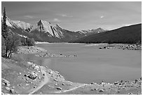 Medicine Lake, afternoon. Jasper National Park, Canadian Rockies, Alberta, Canada ( black and white)