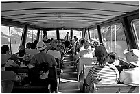 Aboard the tour boat on Maligne Lake. Jasper National Park, Canadian Rockies, Alberta, Canada ( black and white)