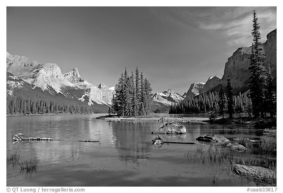 Spirit Island and Maligne Lake, afternoon. Jasper National Park, Canadian Rockies, Alberta, Canada (black and white)