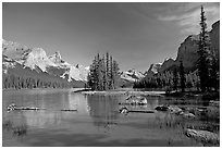 Spirit Island and Maligne Lake, afternoon. Jasper National Park, Canadian Rockies, Alberta, Canada ( black and white)