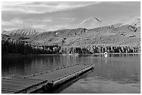 Dock, Maligne Lake, and Bald Hills, late afternoon. Jasper National Park, Canadian Rockies, Alberta, Canada (black and white)
