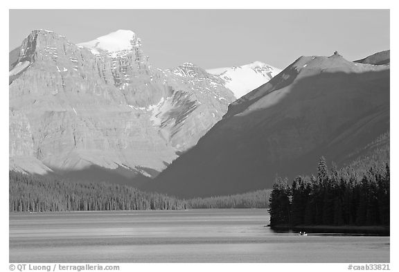 Maligne Lake and peaks, late afternoon. Jasper National Park, Canadian Rockies, Alberta, Canada (black and white)