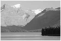 Maligne Lake and peaks, late afternoon. Jasper National Park, Canadian Rockies, Alberta, Canada ( black and white)