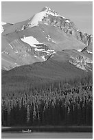 Peak raising above Maligne Lake. Jasper National Park, Canadian Rockies, Alberta, Canada ( black and white)