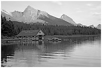 Maligne Lake Boathouse,  Leh and Samson peaks, sunset. Jasper National Park, Canadian Rockies, Alberta, Canada (black and white)