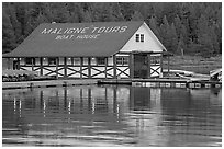 Maligne Lake Boathouse. Jasper National Park, Canadian Rockies, Alberta, Canada (black and white)