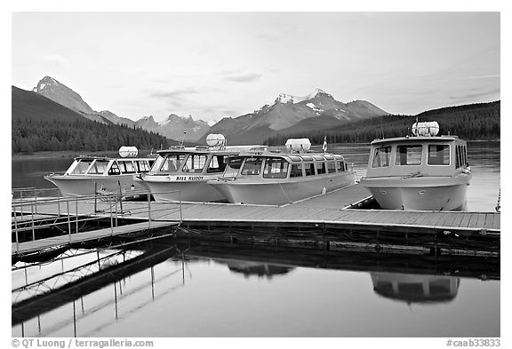 Tour boat dock, Maligne Lake, sunset. Jasper National Park, Canadian Rockies, Alberta, Canada (black and white)