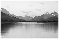 Maligne Lake, the largest in the Canadian Rockies, sunset. Jasper National Park, Canadian Rockies, Alberta, Canada ( black and white)