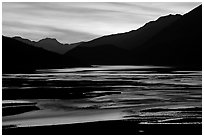Flood plain of Medicine Lake, sunset. Jasper National Park, Canadian Rockies, Alberta, Canada (black and white)