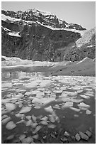 Cavell Pond, with the face of Mt Edith Cavell looming above, sunrise. Jasper National Park, Canadian Rockies, Alberta, Canada ( black and white)
