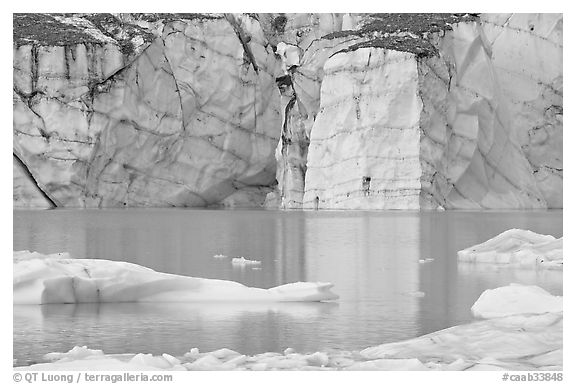 Wall of ice and Cavell Pond,. Jasper National Park, Canadian Rockies, Alberta, Canada (black and white)