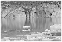 Front of Cavell Glacier reflected in glacial lake. Jasper National Park, Canadian Rockies, Alberta, Canada (black and white)