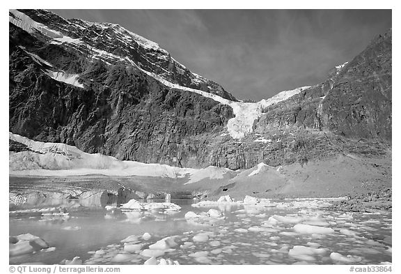 Cavell Pond and glaciers  at the base of Mt Edith Cavell, early morning. Jasper National Park, Canadian Rockies, Alberta, Canada (black and white)