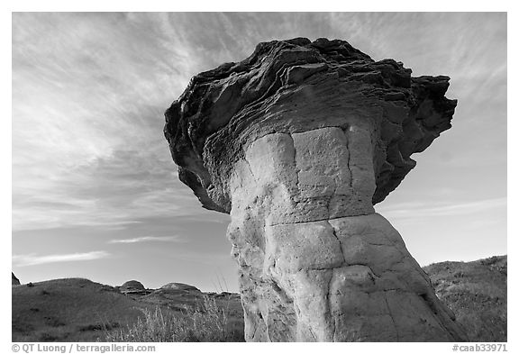 Caprock, early morning, Dinosaur Provincial Park. Alberta, Canada